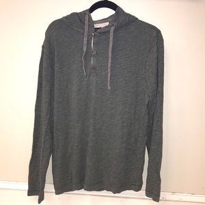 Green Henley hoodie with woven material